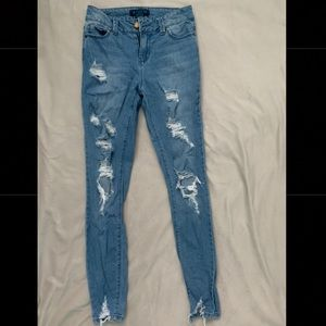 Distressed Blue Skinny Jeans